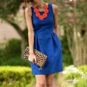 J.Crew Blue Pleated Dress with Pockets